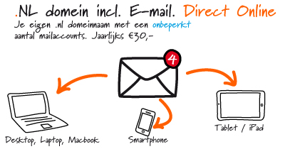 Voor € 30,- per jaar heeft u al een domeinnaam inclusief een onbeperkt aantal e-mail accounts.